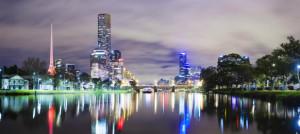 Skyscrapers along Yarra river in Melbourne