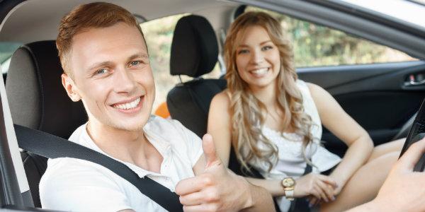 Sweet couple enjoying the road trip